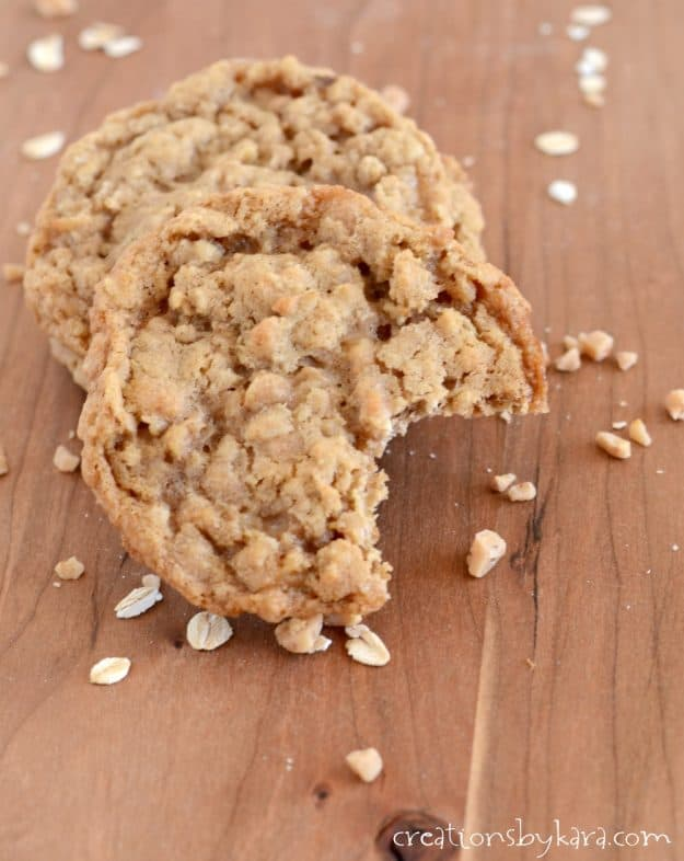 Oatmeal Toffee Cookie with a bite taken out of it