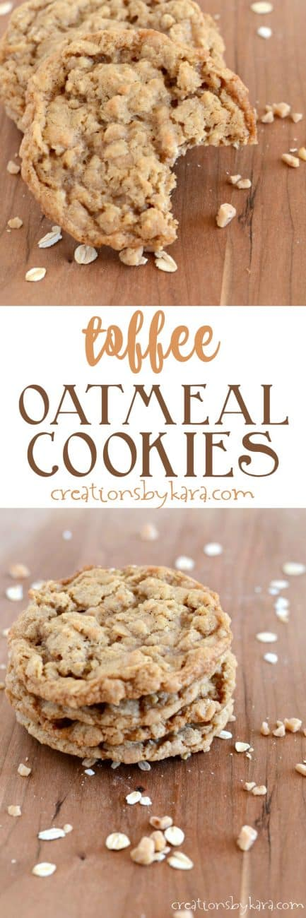 toffee oatmeal cookies recipe collage