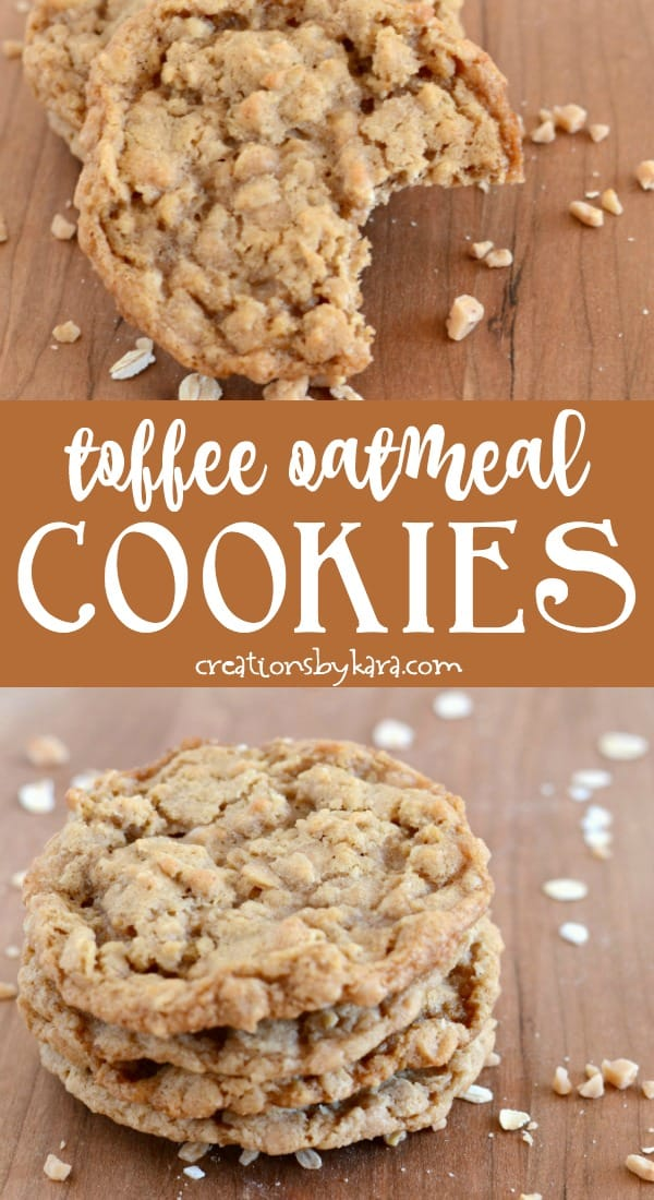 oatmeal toffee cookies recipe collage