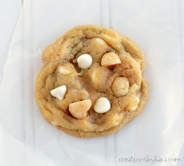 overhead shot of cookie with macadamia nuts and white baking chips