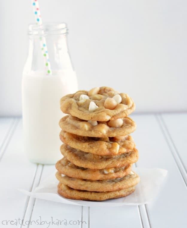 stack of macadamia nut cookies with white chocolate