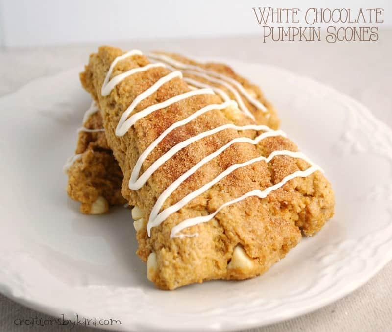 Recipe for Pumpkin Scones with White Chocolate- a family favorite!