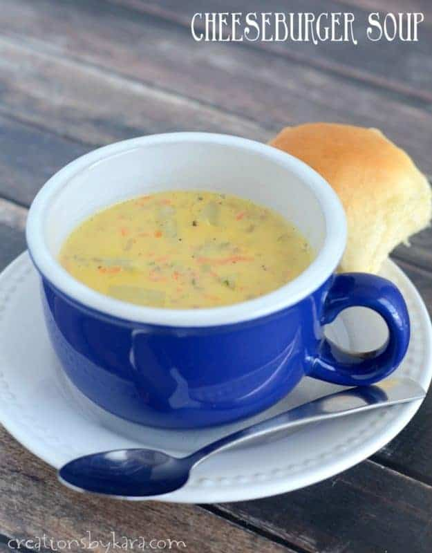 Creamy and cheesy, this Cheeseburger Soup is the perfect way to warm up after a long day. A perfect family friendly soup recipe. Leftovers are great the next day!