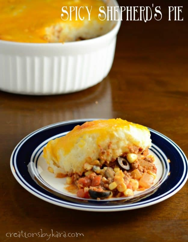 Spicy Shepherd's Pie - a Mexican twist on a classic recipe. A delicious dinner recipe the whole family loves!
