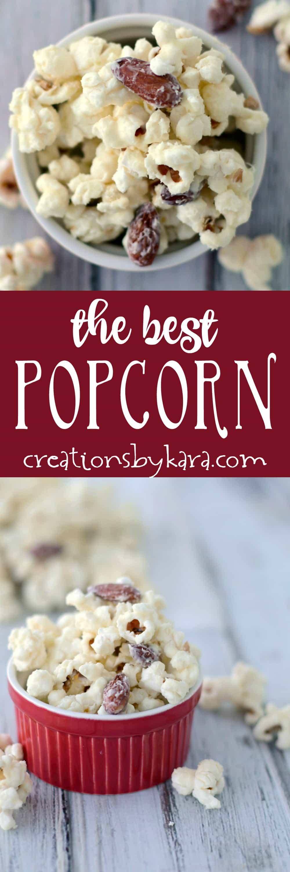White Chocolate Popcorn takes about five minutes to make, and it is absolutely addicting! The best popcorn ever! An easy snack that no one can resist. #popcorn #snack #whitechocolate