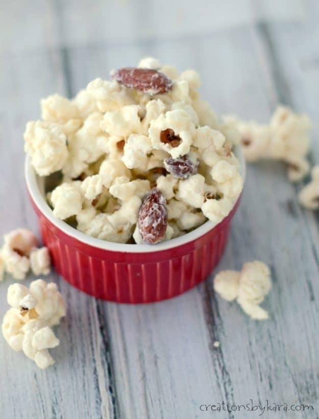 Everyone raves about this white chocolate popcorn, and it is insanely easy to make!