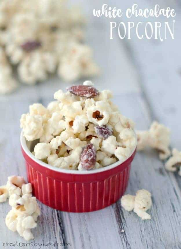 White Chocolate Popcorn - this snack takes about five minutes to make, and it is absolutely addicting! The best popcorn ever!