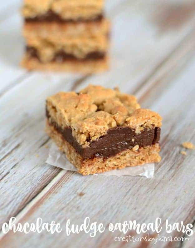 Oatmeal Fudge Bars - these decadent bars are great served warm or cold. A perfect treat for chocolate lovers.
