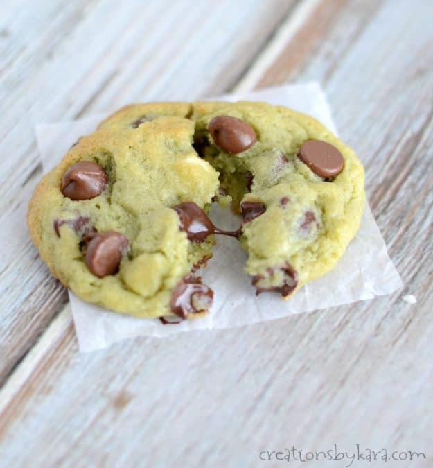 Warm and gooey pistachio chocolate chip cookies are a perfect St. Patrick's Day cookie recipe.