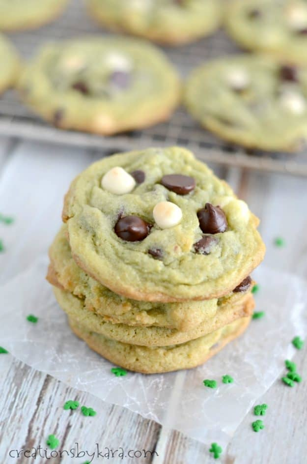 Pistachio pudding mix makes these St. Patrick's Day Cookies extra soft and yummy!