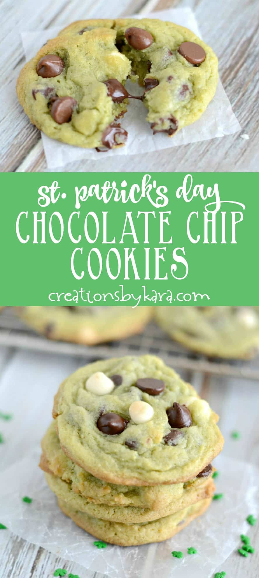 Pistachio pudding mix adds color and flavor to these St. Patrick's Day Chocolate Chip Cookies. A perfect St. Patrick's Day treat!