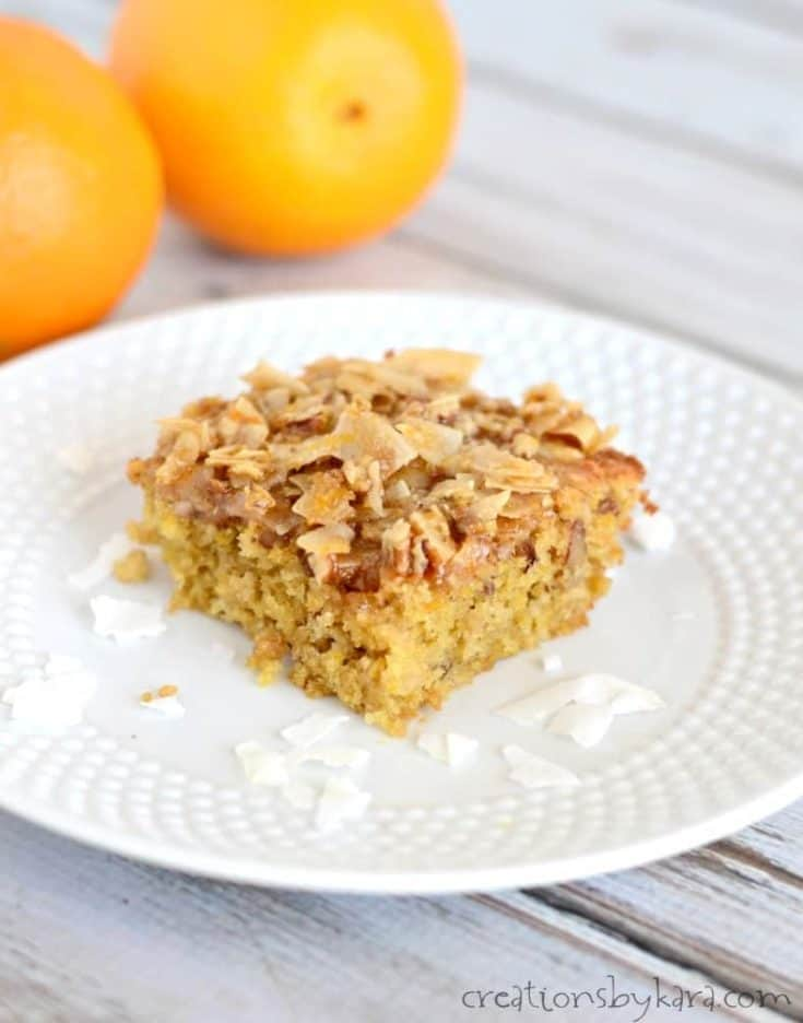 Recipe for coconut orange coffee cake with oats. A yummy brunch recipe!