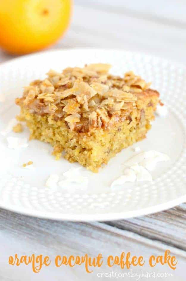 Recipe for coconut orange coffee cake. A fresh and delicious coffee cake recipe.