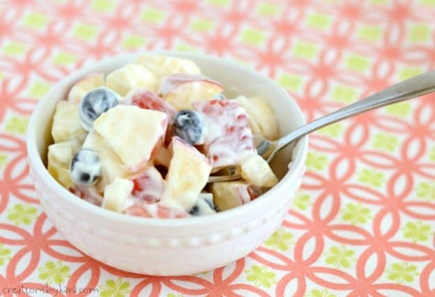 You can adapt this sour cream fruit salad using any fruit you like. It is easy, creamy, and scrumptious!
