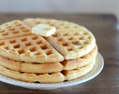 You can whip up a batch of these homemade waffles in about 5 minutes!