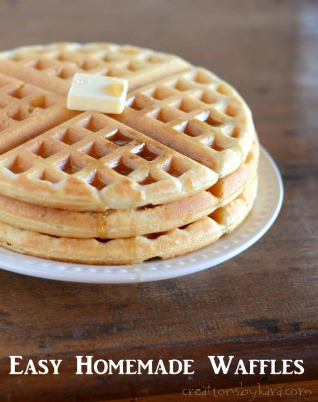 Homemade waffles with ingredients you already have. Easy and delicious!