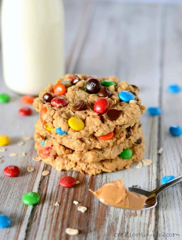 Recipe for perfect Monster Cookies. Makes a big batch of seriously amazing cookies! #monstercookies