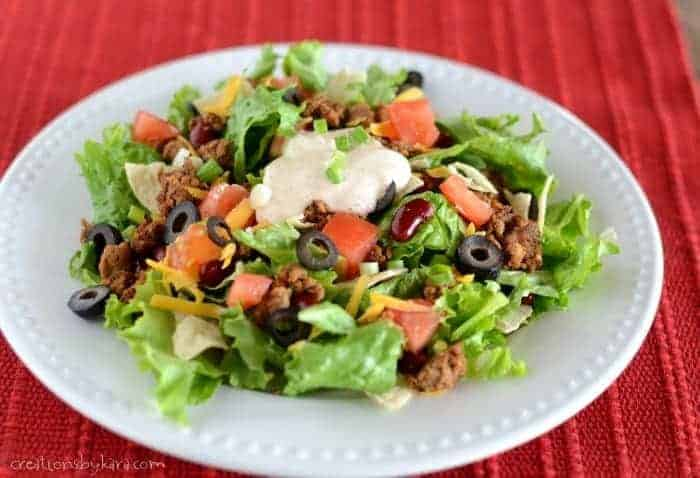 Recipe for taco salad made from scratch. A family favorite!