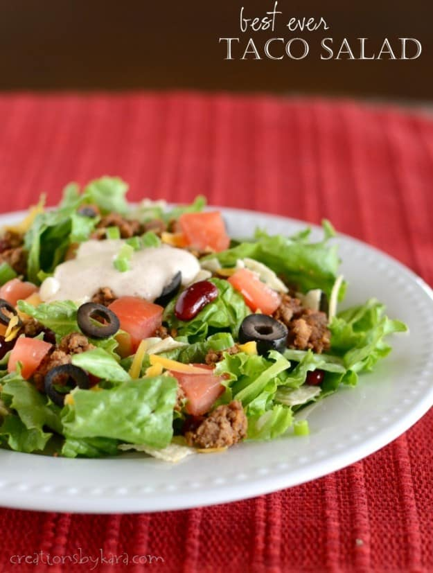 Taco Salad- This salad has the familiar flavor of tacos that everyone ...