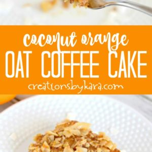 coconut orange oat coffee cake recipe collage