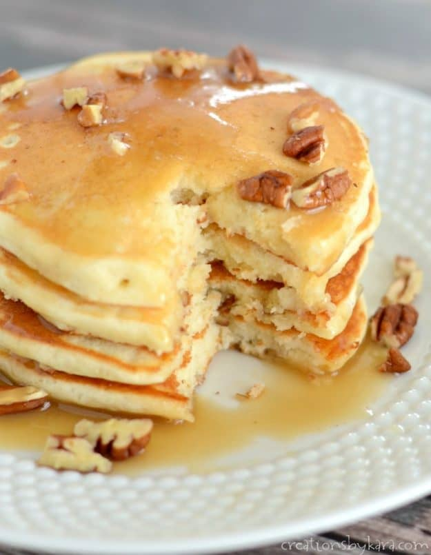 Recipe for amazing banana pancakes made from scratch.