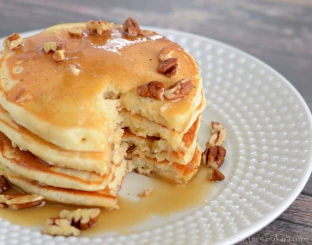 Tasty banana nut pancakes are a tasty way to start the day. The pecans add healthy protein.