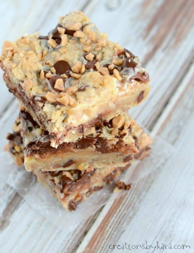 Ooey, gooey, and rich, these Toffee Chocolate Chip bars are a decadent treat that no one can resist!