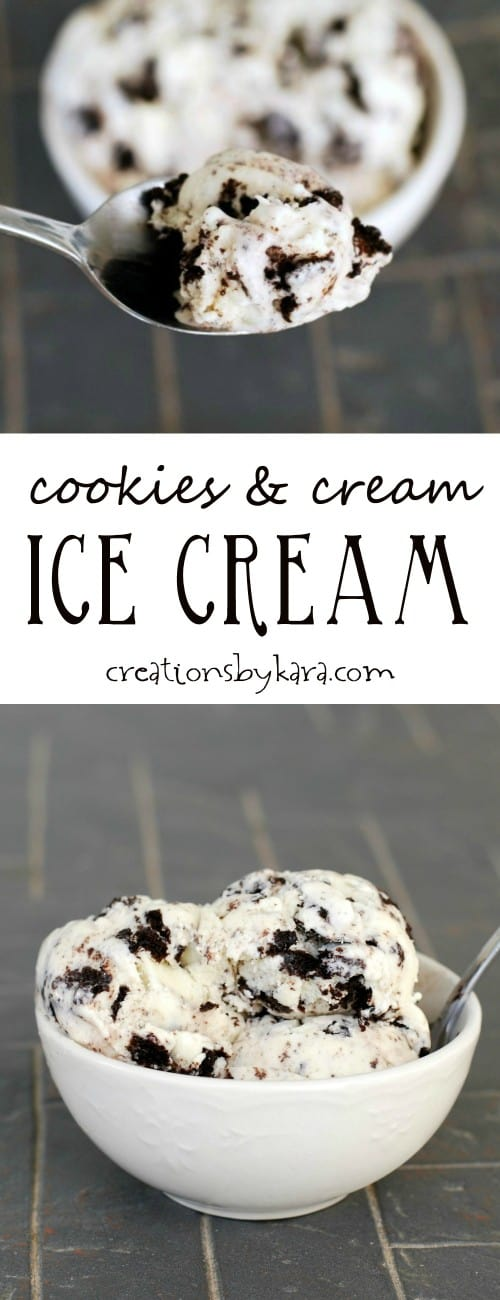 Recipe for rich and creamy cookies and cream ice cream. A perfect summer treat!