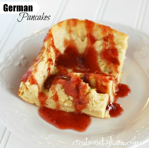German Pancakes with Strawberry Syrup