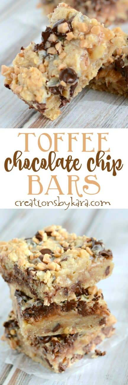 With a buttery crust, an ooey gooey layer, and loads of chocolate chips and toffee, these Toffee Chocolate Chip Bars will satisfy any sweet tooth. Everyone loves these bars!