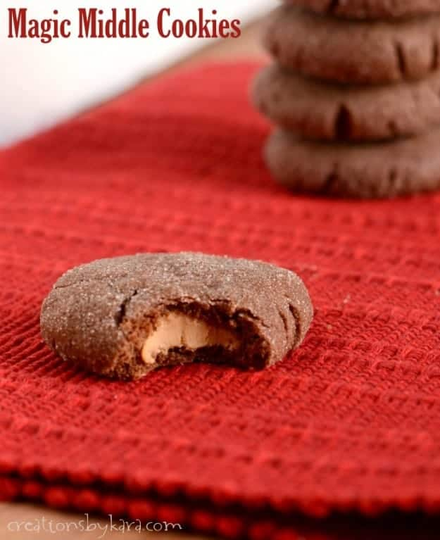 Magic Middle Cookies. Tender chocolate cookies with a creamy peanut butter filling. Amazing!