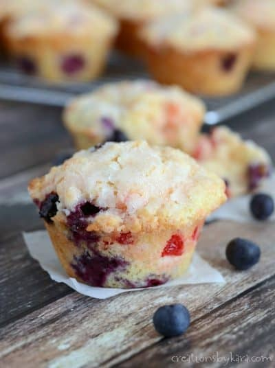 Yummy blueberry cherry muffins with a hint of lemon