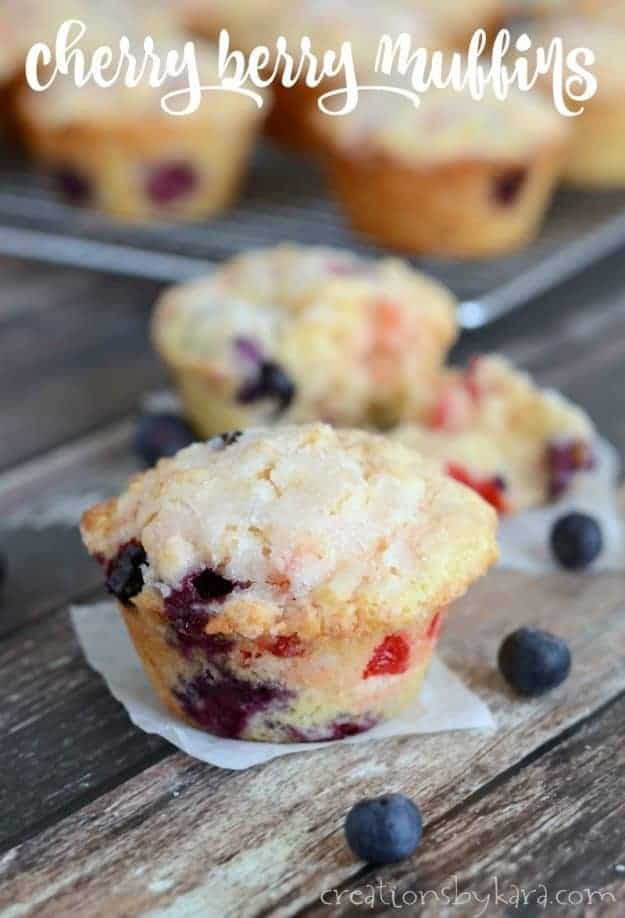 Blueberry Cherry Muffins - a hint of lemon makes these berry cherry muffins extra yummy!