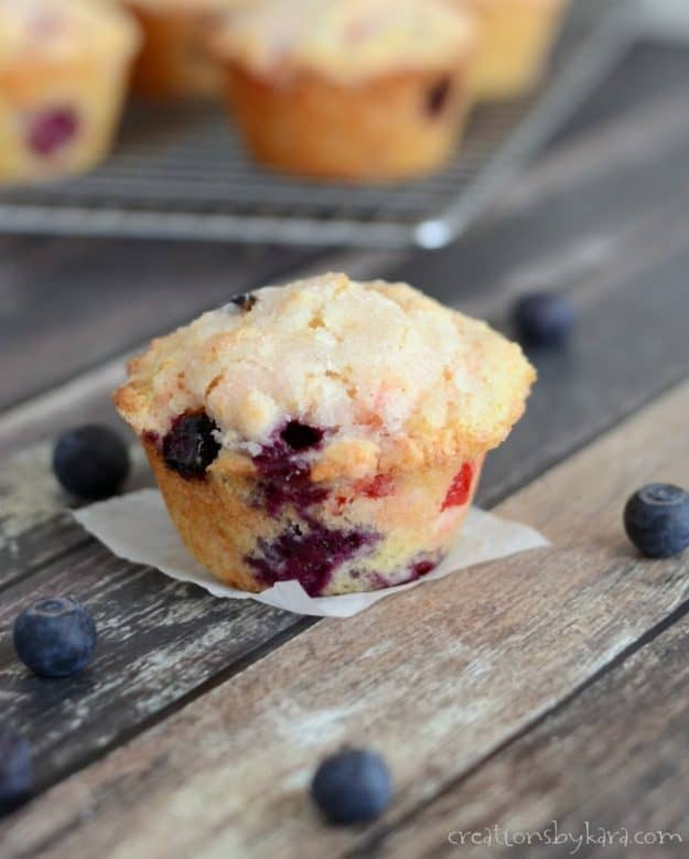 4th of July recipe idea - Blueberry Cherry Muffins