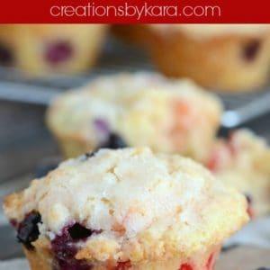 lemon blueberry muffins with maraschino cherries
