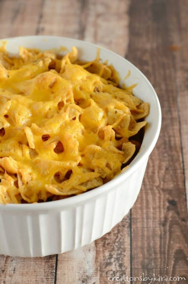 Chili Casserole - topped with Fritos and cheese, this casserole is a family favorite!