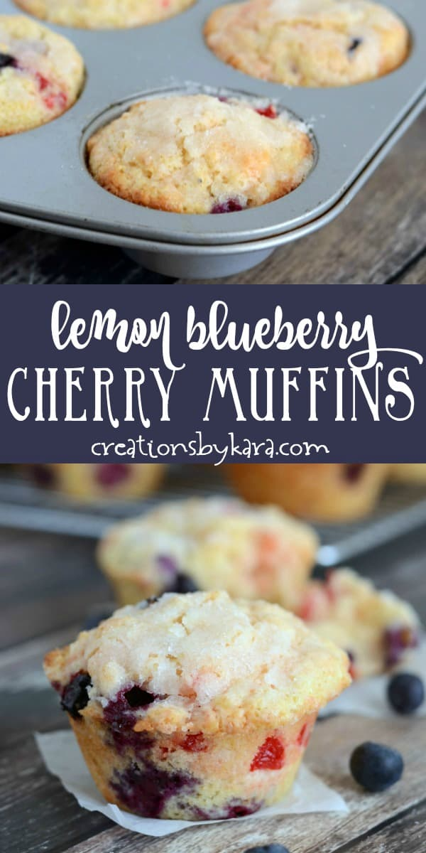 lemon blueberry cherry muffins recipe collage