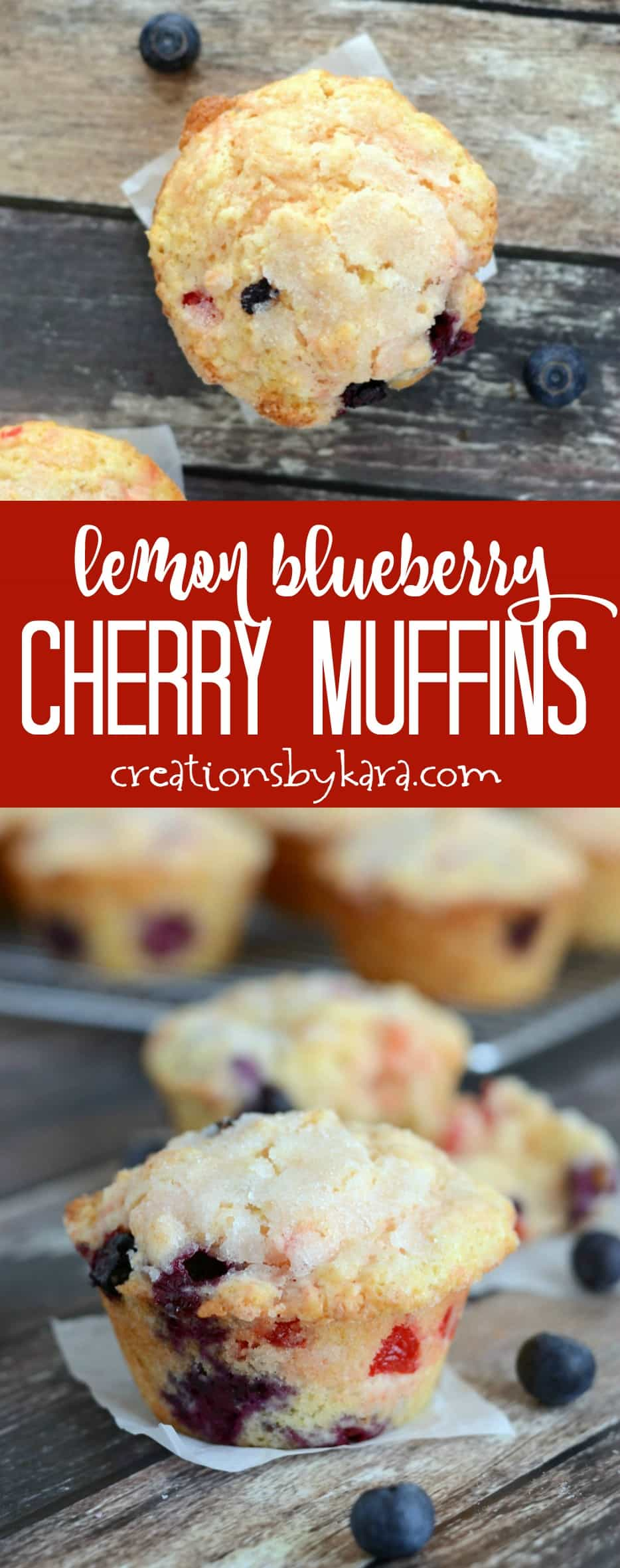 Everyone loves these Lemon Blueberry Cherry Muffins. They are pretty and delicious!