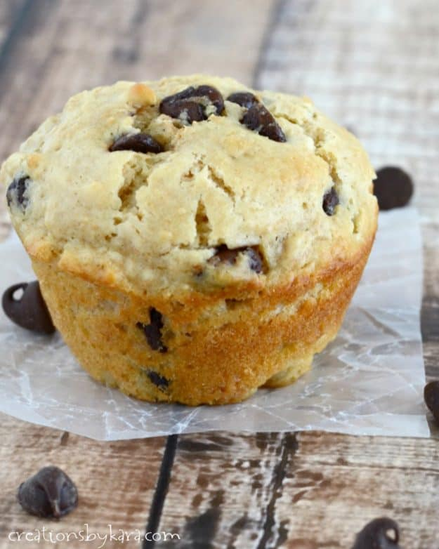 Serve these Peanut Butter Chocolate Chip Muffins with a glass of milk for a filling and delicious breakfast or snack!