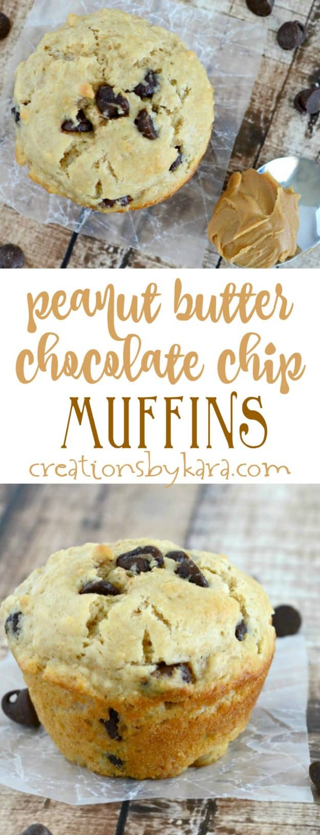 These fluffy Peanut Butter Chocolate Chip Muffins are so tasty! A perfect muffin recipe for peanut butter and chocolate lovers!