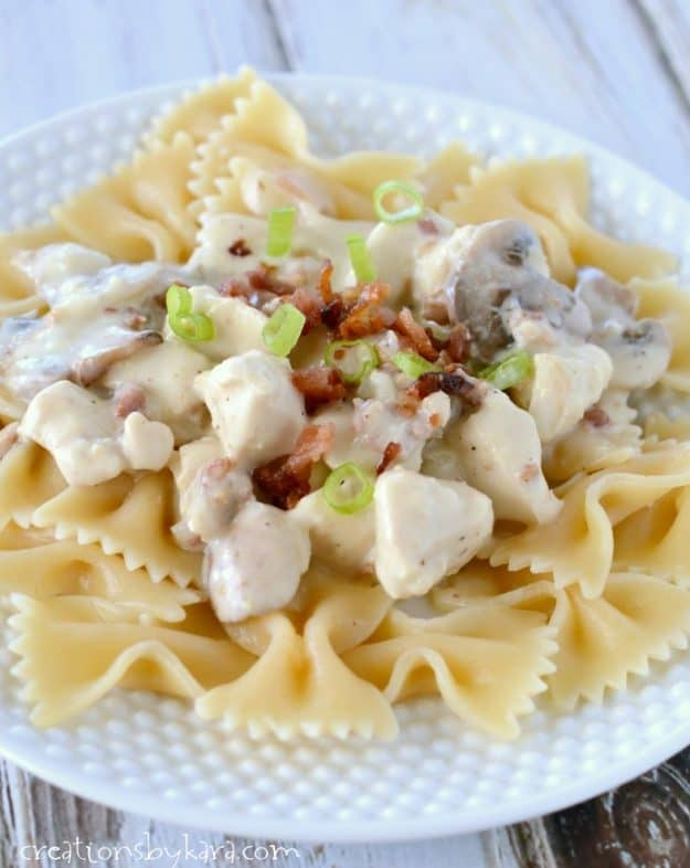 Give this creamy chicken stroganoff a try. The tangy sauce is loaded with chicken, bacon, and mushrooms. A yummy pasta recipe!