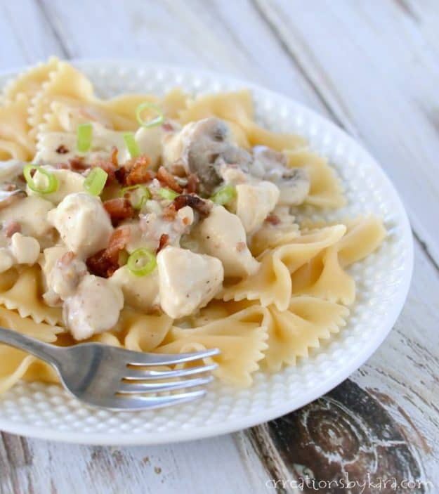 Bacon gives this creamy chicken stroganoff extra flavor. A tasty twist on regular stroganoff.