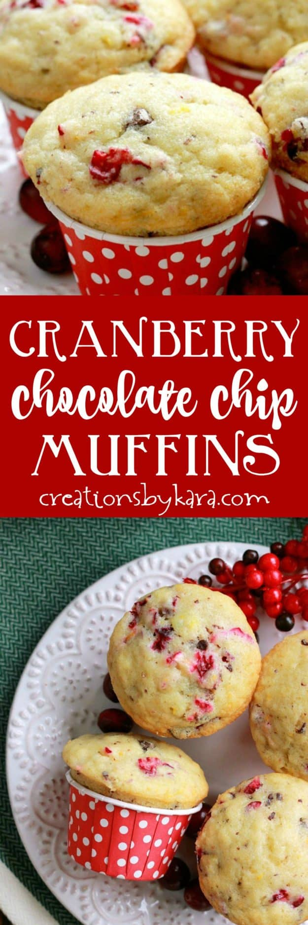 These Cranberry Chocolate Chip Muffins are moist and delicious. A perfect holiday muffin recipe. They would be perfect for Christmas brunch!