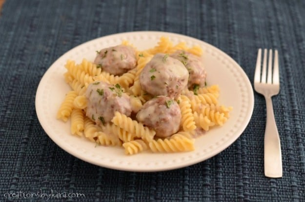 Meatball recipe with creamy sauce. A family favorite!