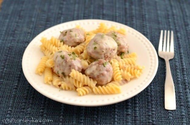 Meatballs in a light cream sauce- a family favorite!