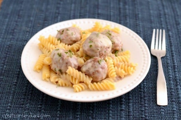 Hearty meatballs in a light creamy sauce. A favorite weeknight dinner recipe