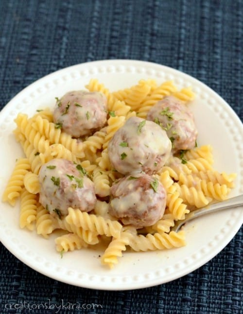 plate of meatballs in creamy sauce