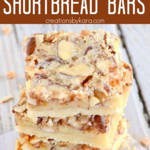 toffee almond shortbread bars pinterest pin