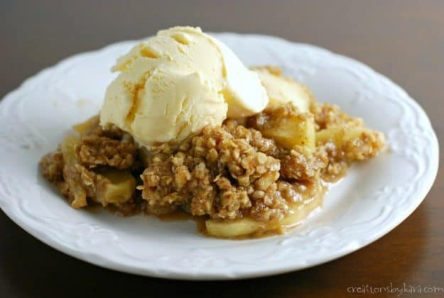 Best Ever Apple Crisp - tender apples with a buttery oat topping. A perfect fall dessert recipe!