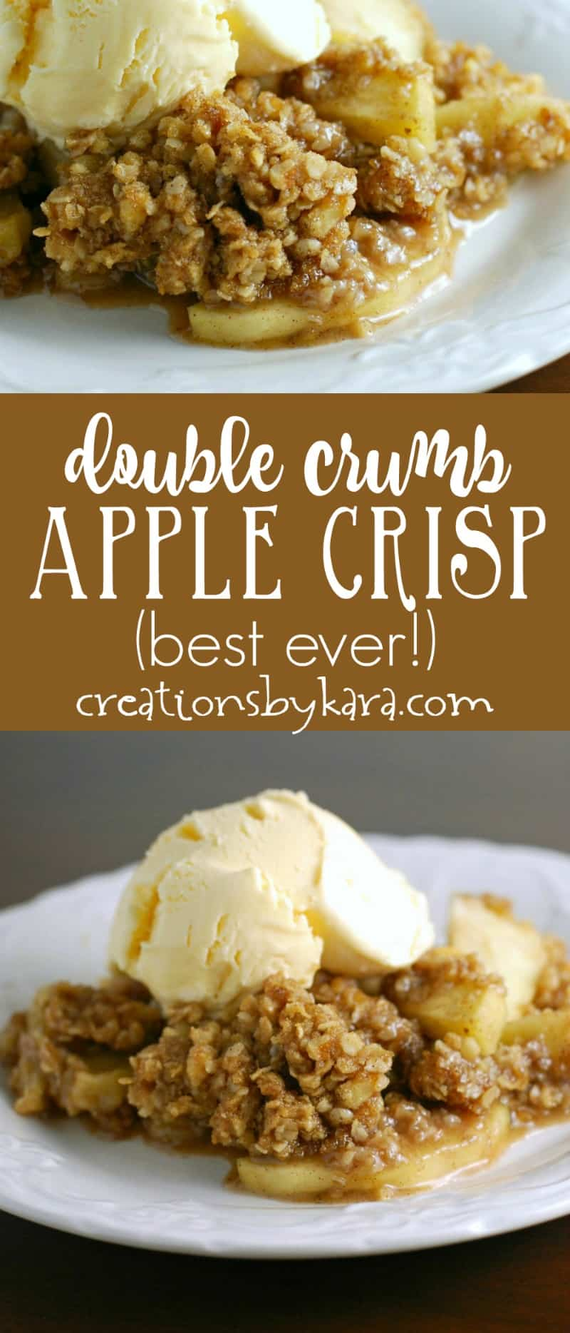 Perfect Apple Crisp - a double layer of cinnamon oat topping makes this the best apple crisp ever! You will love this fall recipe!